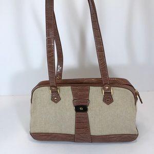 Etienne Aigner Tan and Brown Shoulder Bag